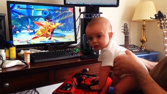 Watch This Tiny Baby Successfully Play Through Story Mode In 'Street Fighter V'
