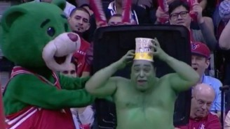 Watch A Shirtless Man Emerge From A Garbage Can During A Rockets Game