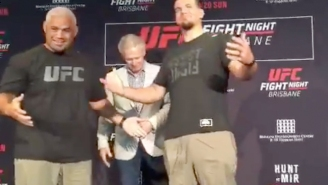 Mark Hunt And Frank Mir Try To Face Off For UFC Fight Night 85, But Can't Stop Laughing