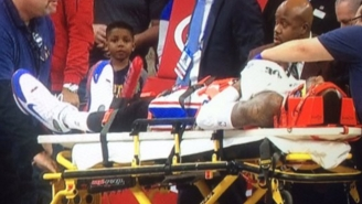 Robert Covington Left The Game On A Stretcher After Getting Kicked In The Face
