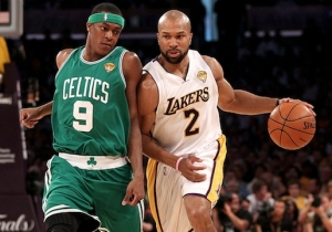 Rajon Rondo Reminds Former Laker Derek Fisher Of The Celtics 'Beating Their A**' In 2008