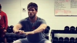 Bryce Harper Shows Off His Insane Balance By Squatting On An Exercise Ball