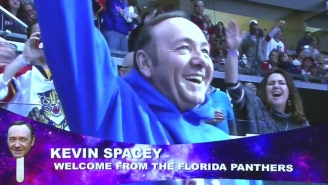 Kevin Spacey Attended A Florida Panthers Game In A Sweatshirt With His Own Face On It