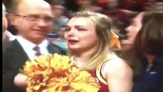 This Poor Iowa State Cheerleader Got Rocked In The Face By A Flying Basketball
