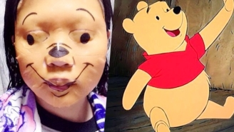 This Winnie-The-Pooh Facial Relaxation Mask Is The Most Terrifying Thing You've Ever Seen On Someone's Face