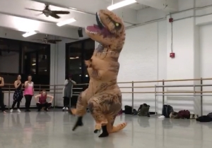 Who Wants To See A Man Wearing A T-Rex Costume Dance To 'A Chorus Line?'