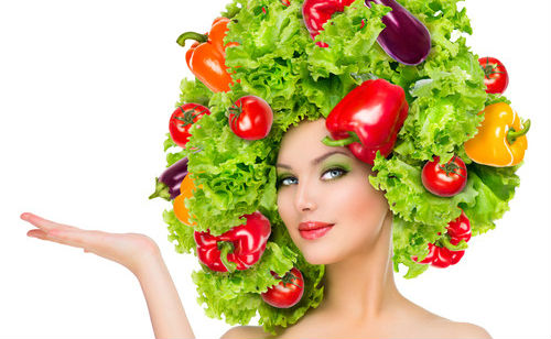 vegan study fruit veggie hair lady