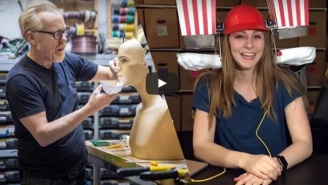 Simone Giertz And Adam Savage Made The Popcorn Machine Helmet We Didn't Know We Needed