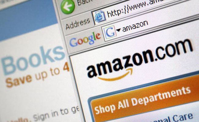 The Amazon.com Inc. website is arranged for a photograph in