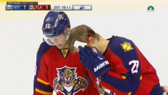 A Panthers Player Was Bloodied Badly After A Freak Spill Into The Boards