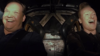Conan O'Brien and Andy Richter take the Batmobile for a spin, only blow up one ice cream truck