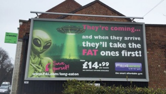 People Were Offended By This Gym Billboard Threatening Alien Abduction: 'They'll Take The Fat Ones First'