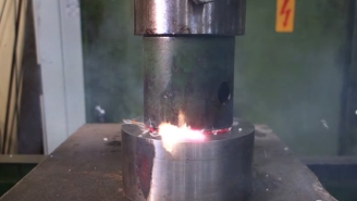 This Hydraulic Press Crushing 'Exploding Things' Is Oddly Mesmerizing