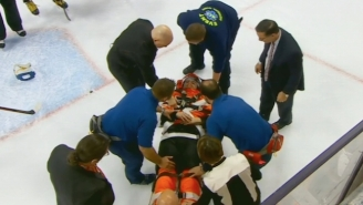 Flyers' Scott Laughton Was Stretchered Off After This Brutal Collision With The Boards
