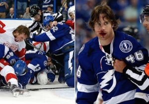 The Red Wings And Lightning Finished Their Game With A Bloody Brawl