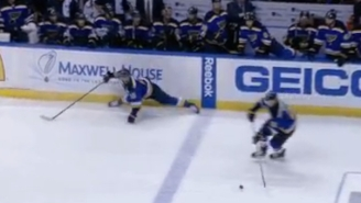Watch This Blues Player Perform An Incredible Split To Stay Onside
