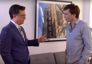 David Tennant was on 'The Late Show' last night, so 'Doctor Who' wordplay happened