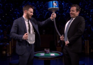 Chris Evans and Jimmy Fallon poured ice water down each other's pants last night