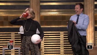Jane Fonda And Jimmy Fallon Went Toe-To-Toe In A 'Giant Beer Pong' Challenge