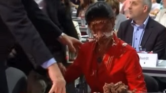 A German Opposition Leader Takes A Chocolate Cake To The Face In Protest Over Migrants