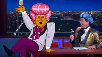 Cartoon Donald Trump helps Stephen Colbert send off two more 'Hungry for Power Games' tributes