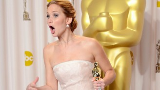 Jennifer Lawrence Nearly Takes Another Red Carpet Tumble
