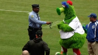 The Phillie Phanatic And A Police Officer 'Arrested' Jose Fernandez, Who Continues To Make Baseball Fun