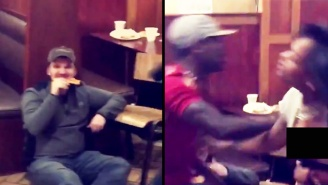 This Pizza-Loving Guy Had The Coolest Reaction During A Restaurant Brawl