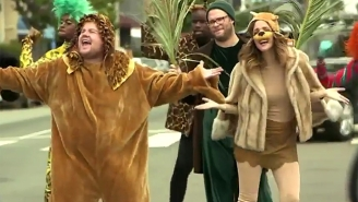 Seth Rogen And Rose Byrne Help James Corden Bring 'The Lion King' To Crosswalk: The Musical