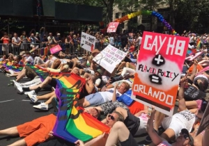 New York Pride Marchers Laid Across Fifth Avenue To Protest Gun Violence On Sunday