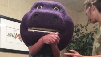 A 15-Year Old In Alabama Got Stuck In A Giant Barney Head And It's Hilarious