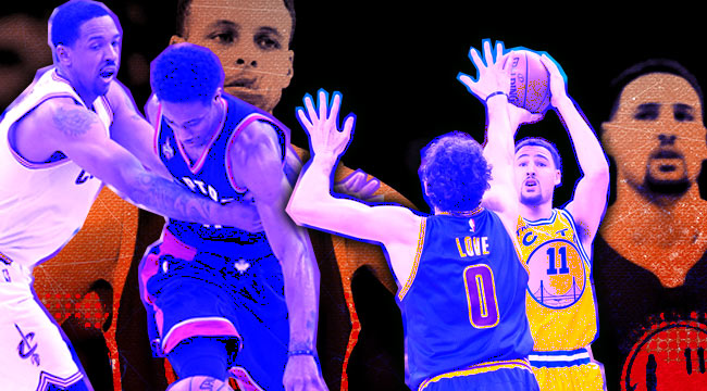 Channing Frye, Kevin Love, Stephen Curry, Klay Thompson