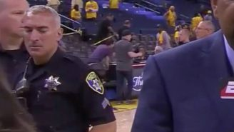 Cameras Catch A Police Officer Ogling A Woman In The Postgame Of The NBA Finals