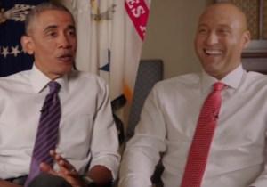 Watch President Obama Gleefully Laugh At Derek Jeter For Being Old