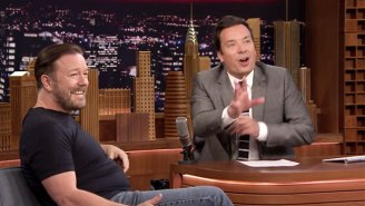 Ricky Gervais Showcases His Less Than Versatile Range Of Impressions on 'The Tonight Show'