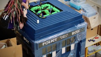 Guess how many Lego bricks are in this life-size Lego TARDIS