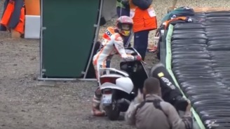 A Motorcycle Racer Wrecked His Bike, Then Borrowed A Cameraman's Scooter Without Missing A Beat