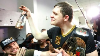 A Photo Essay Of Timofey Mozgov Celebrating In The Locker Room