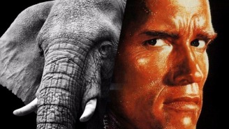Arnold Schwarzenegger Can't Get To The Chopper Fast Enough As This Curious Elephant Chases Him