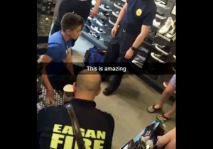 All Hell Broke Loose When This Teen Got His Fingers Stuck In A Bench At A Shoe Store