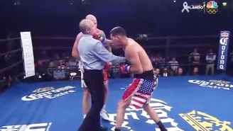 Watch A Boxing Referee Get Drilled In The Throat With A Right Hook