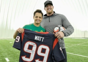 This Mexican Soccer Star Lost His Dang Mind When J.J. Watt Surprised His Team At Practice