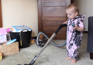 Allow This Man To Demonstrate How To Get A Baby To Clean The House