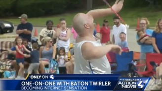 This Silver Leotard Wearing Baton Twirler Was The Clear Winner Of His 4th Of July Parade