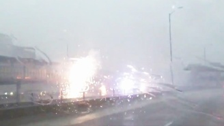 Dramatic Footage Shows A Train Derailment In Chicago During A Raging Storm