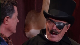 Bryan Cranston And His Fake Mustache Join Stephen Colbert For 'Too Much Exposition Theater'