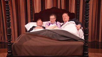 Andy Richter, Larry King And Conan O'Brien Snuggle In Bed Together