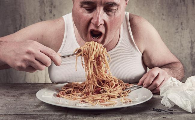 fat man eating ss