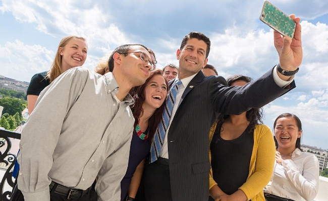 Paul Ryan Took A Colorless Selfie With Capitol Hill Interns And The Internet Pounced On Him