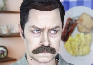 Watch As A Makeup Artist Transforms Herself Into Ron Swanson